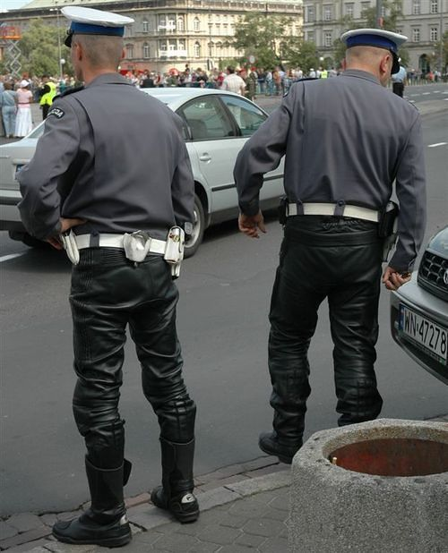 Traffic Police Poland Leather Motorcycle Uniform Leather Men In Uniform Police