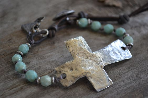 Sideways cross bracelet 'Faith' aqua, rustic hammered silver cross, religious, leather,sundance style, bohemian chic, rustic country