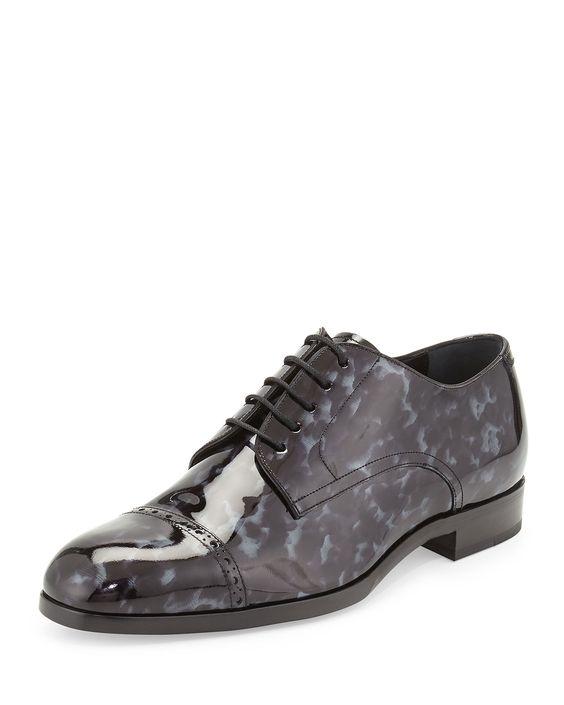 Prescott Tortoise Patent Leather Lace-Up Shoe, Black/Gray, Size: 41.5EU/8.5D - Jimmy Choo