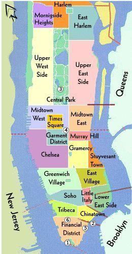 carte new york quartier Quartiers de New York : ceux à la mode et ceux à éviter ! (avec