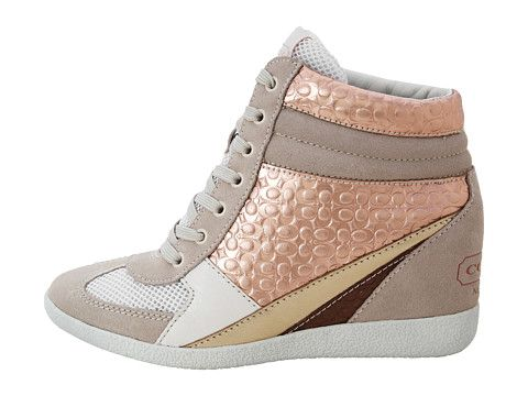 COACH Naples Rose Gold/Parchment Metallic Kidskin/Suede - 6pm.com