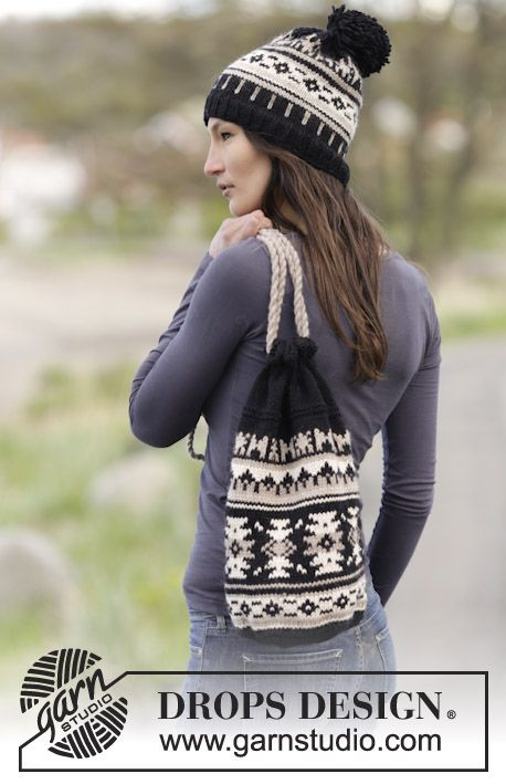 Gorgeous hat and bag with graphic pattern in #DROPSDesign Nepal #knitting