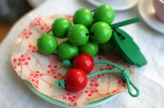 DIY play food with wooden beads - inspiration only, no instructions: