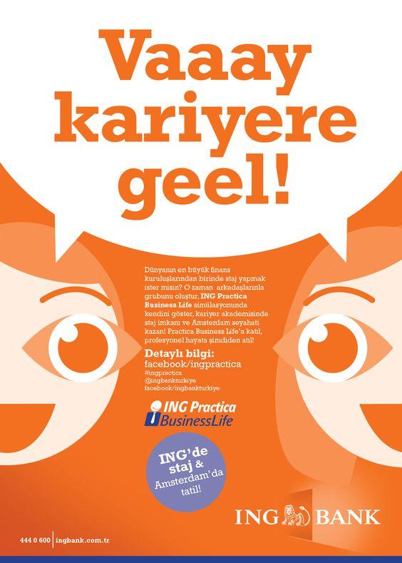 Yoksa ING Practica seni mi arıyor?  Bankada özel staj programı ve Amsterdam seyahati için ekibini kur, başvur, kazan!    http://on.fb.me/HqM6KN