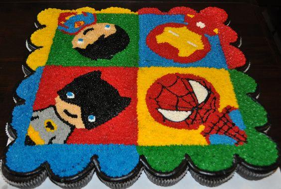 Superhero Pull-Apart Cake by Summer's Sweet Treats:
