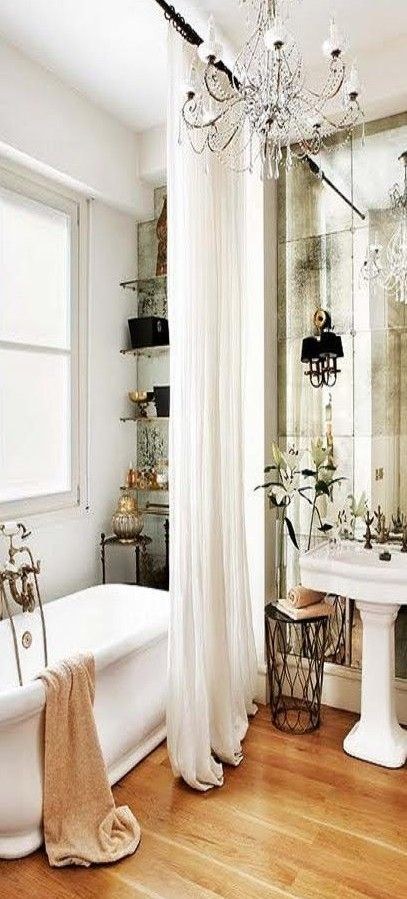 Bathroom ceiling high bath curtain flowers by the sink for Small bathroom high ceiling