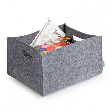 schlichte und praktische aufbewahrungsbox aus grauem filz. Black Bedroom Furniture Sets. Home Design Ideas