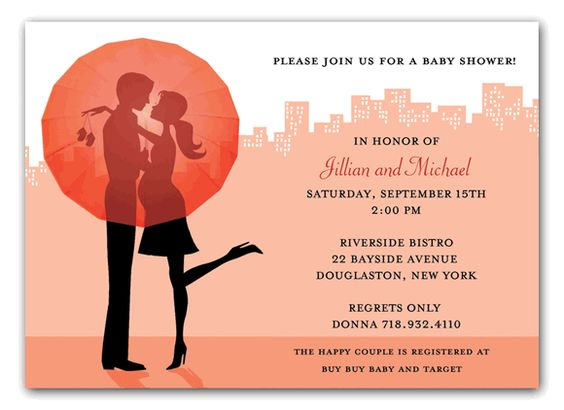 Celebrate the expecting couple with this brand new Bonnie Marcus & Co. invitation.
