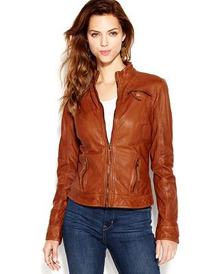 Lucky Brand Stand-Collar Leather Bomber Jacket - Jackets & Blazers ...