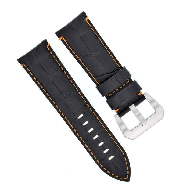 22Mm Genuine Leather Watch Band Strap For Breitling Navitimer, Black Orange St#9