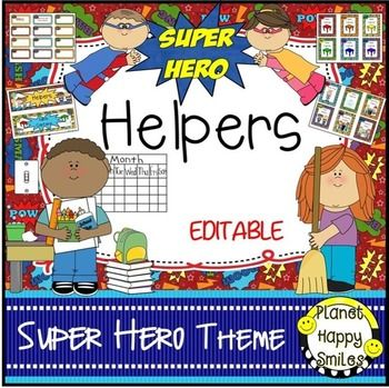This is a set of 66 classroom jobs plus table captains in a Super Hero theme that you can use in your classroom. There is a header that you can put above the cards. You can decide which jobs that you use in your class. They can be stapled to a bulletin board or used in a pocket chart.