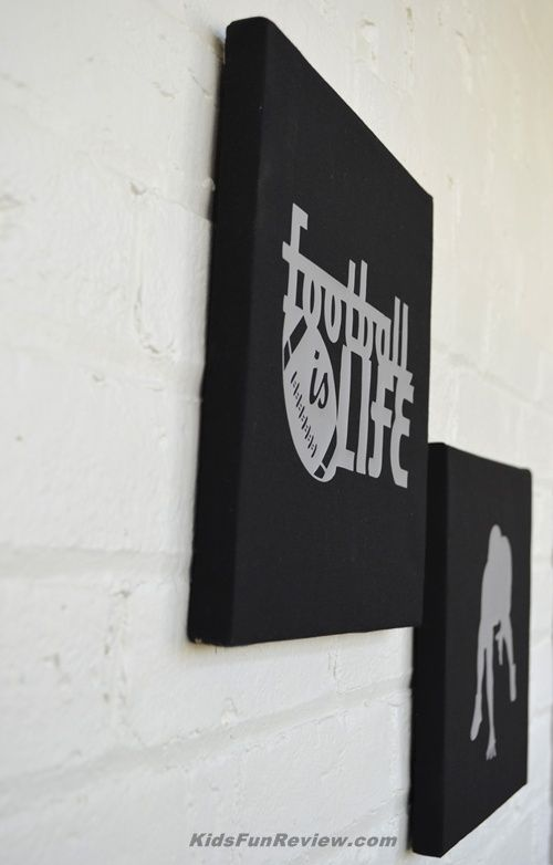 DIY Football Stretched Canvas Wall Art Using Cricut Iron On Material |  Cricut | Pinterest