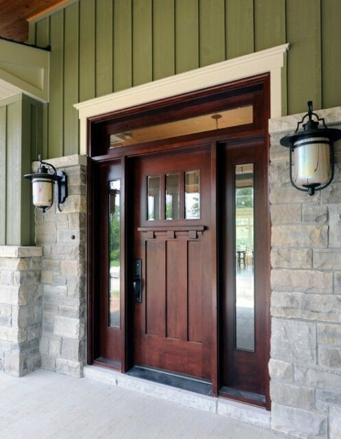 Alpine Style Knotty Alder Shaker Craftsman Enrty Door Unit Craftsman Front Doors Front Door Styles Brown Front Doors