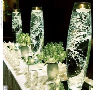Babys Breath in water, could be pretty centerpieces!  Such a cool idea for a reception space with limited lighting!