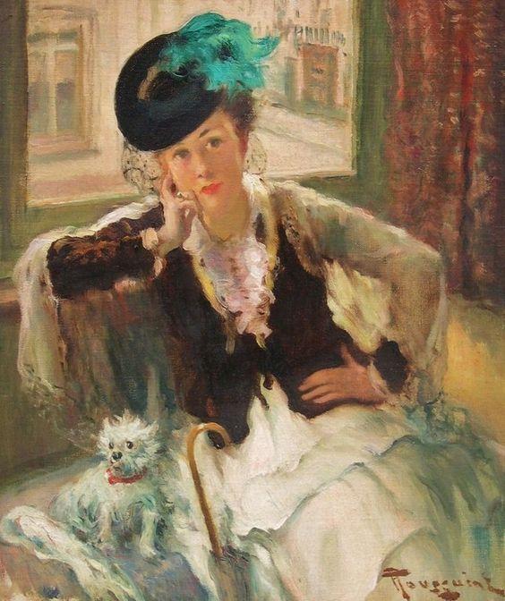 Fernand Toussaint, Belgian artist, 1873-1955, Girl with Dog: