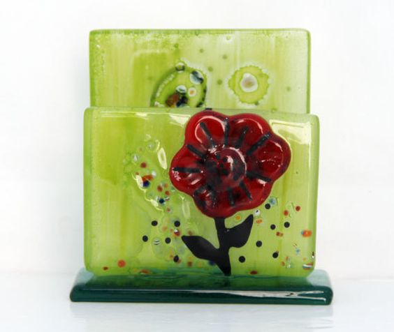 fused glass mobile phone stand docking station red by virtulyglass, $28.00