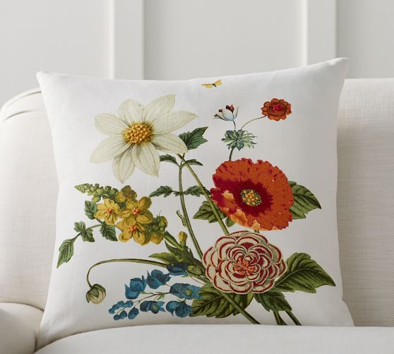 Bethany Floral Embroidered Pillow Floral Pillows Embroidered Pillow Spring Decor