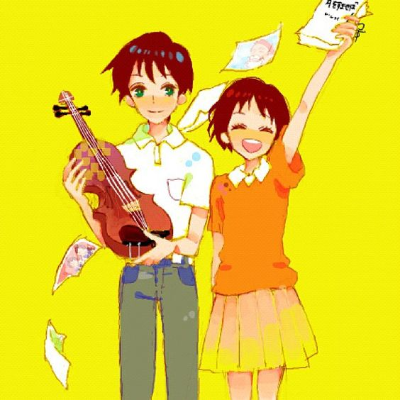 He plays the violin and they both love to read. She writes a story <3 :'( *sniffles* soooo cute