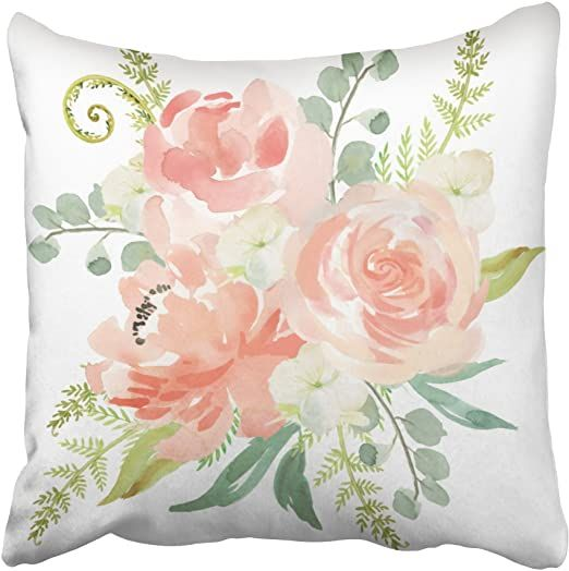 Emvency Decorative Pillowcases Peaches And Cream Watercolor Floral Throw Pillow Covers Cases Cushion Sofa 16x1 Floral Throw Pillow Covers Throw Pillows Pillows