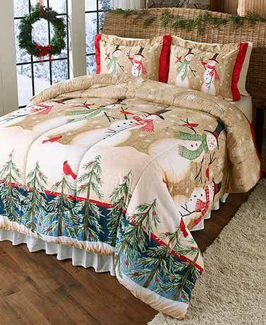 Linda Spivey Snowmen Comforter Or Sham Winter Home Decor