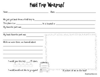 Enjoy this free activity from my field trip resource pack for Field trip lesson plan template