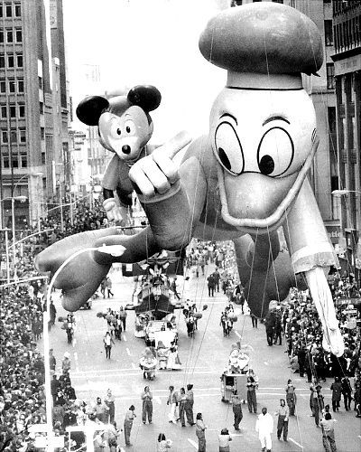 Donald Duck sports a limp wing after a brush with a tree branch in the 1972 Macy's Thanksgiving Day Parade.
