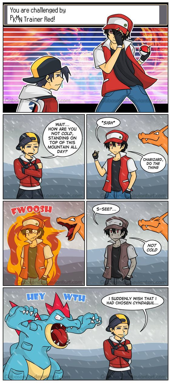 Yeah, fighting Red on top of Mt. Silver! Cyndaquil -->img.pokemondb.net/artwork/cynd… Footage of battling Red -->www.youtube.co....