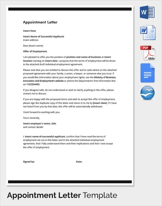 sample appointment letter download free documents pdf word - individual employment agreement
