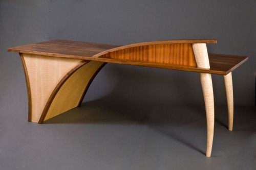 """goodwoodwould: """" Good wood - the rather weird but wonderful 'Trimerous' Desk by Seth Rolland via Northwest Woodworkers' Gallery """""""