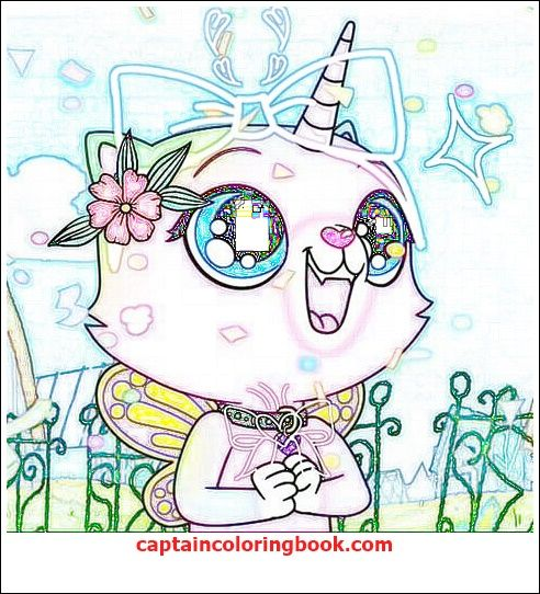 Rainbow Butterfly Unicorn Kitty Coloring Page Coloring Page Kitty Coloring Rainbow Butterfly Unicorn Cat
