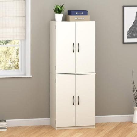 Tall Storage Cabinet With 4 Doors And Two Adjustable Shelves And ...