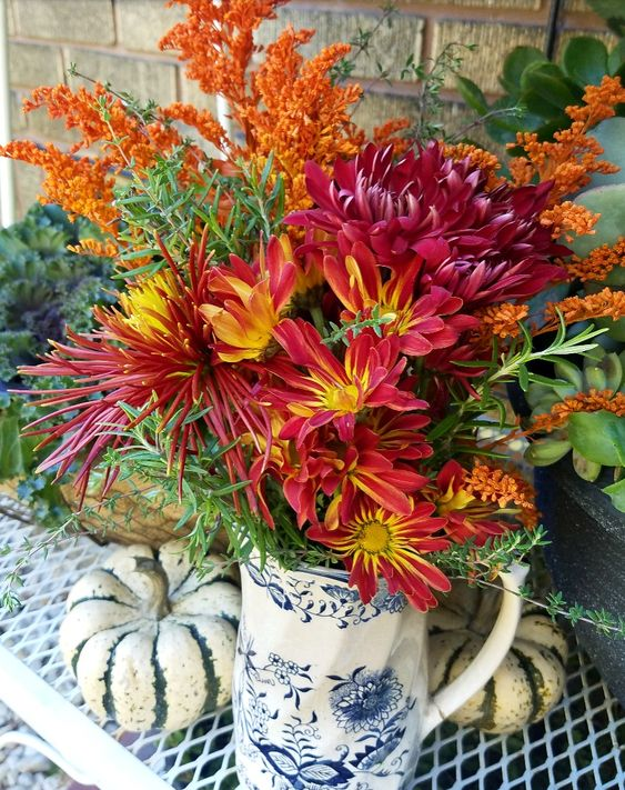 Beautiful fall flower arrangement. Grocery store flowers