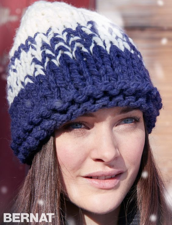 Free Knitting Pattern Hat With Bulky Yarn : Yarnspirations.com - Bernat Bulky Gradient Hat - Patterns ...