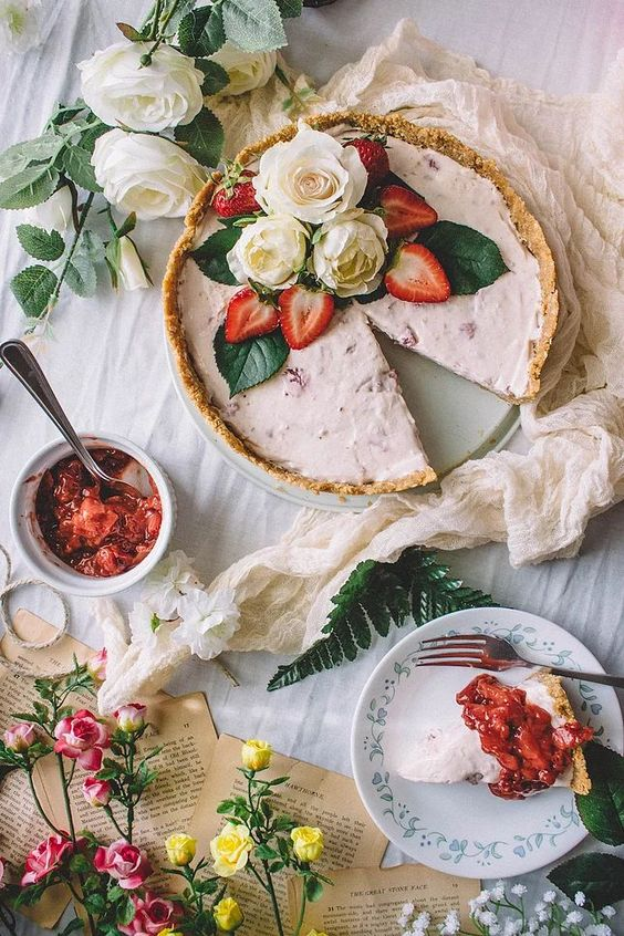 Grilled Strawberry & Goat Cheese No-Bake Cheesecake