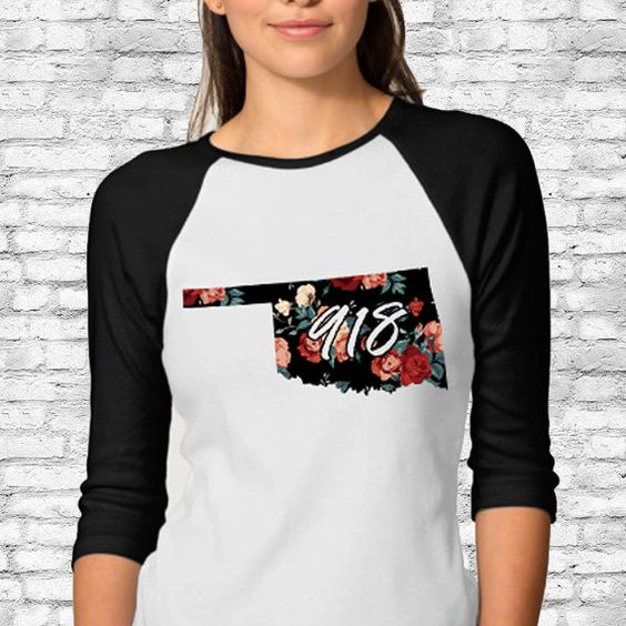 Premium Floral Oklahoma State Area Code 918 Raglan by Anarchy307