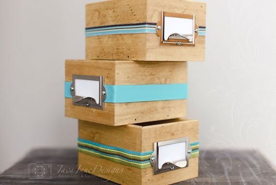Rustic Wooden Library Style Card Box with Daily Journal Cards by JavaJaneDesigns, $42.00