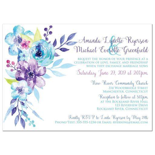 Purple Turquoise Aqua Pink Watercolor Floral Wedding Invitation
