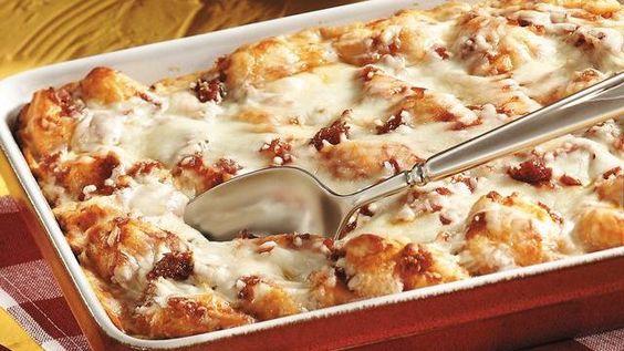Grands! biscuits + pizza sauce + mozzarella cheese + pepperoni