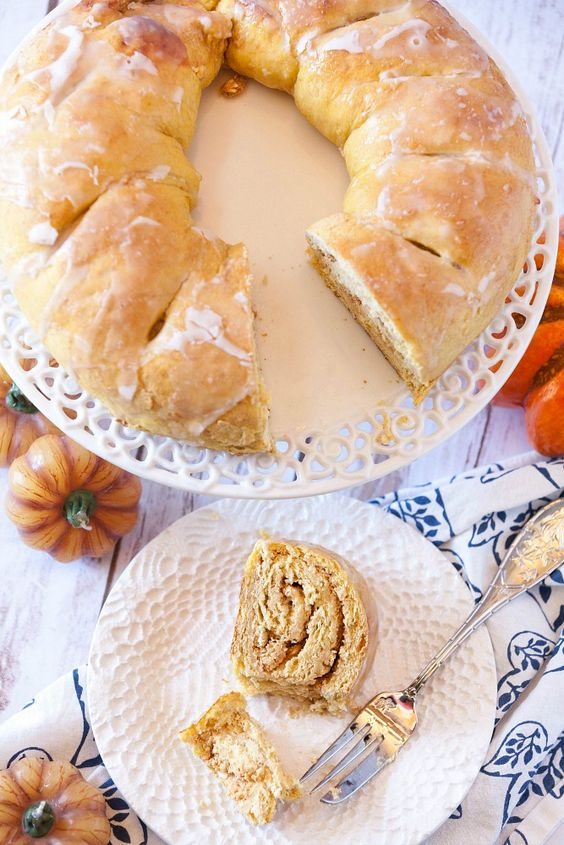 Perfect for Christmas morning! Love that there is pumpkin in the dough and filling plus it is made with whole wheat.