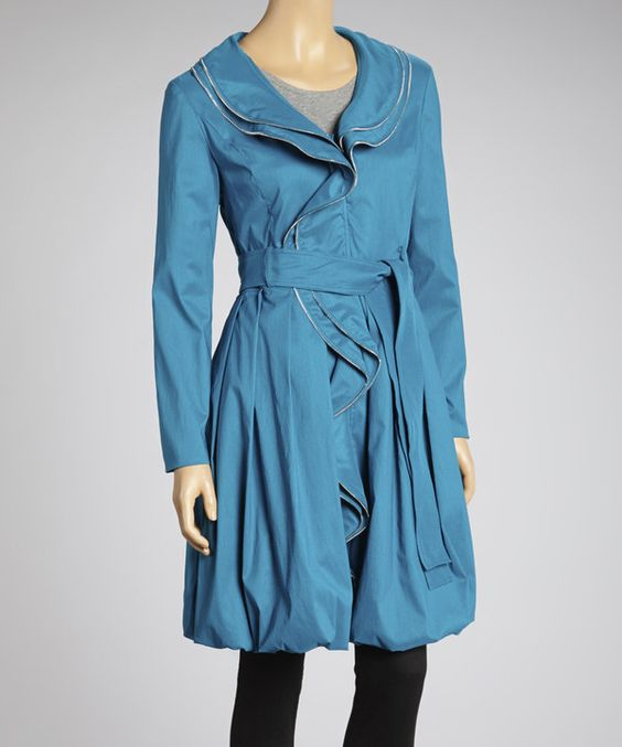 Another great find on #zulily! Samuel Dong Turquoise Ruffle Swirl Tie-Waist Coat - Women by Samuel Dong #zulilyfinds