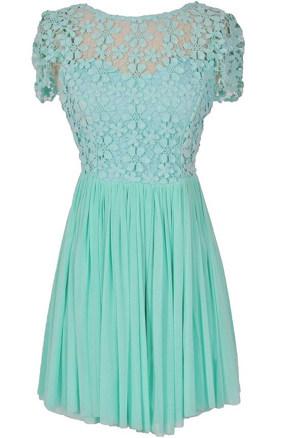 Mint crochet lace dress