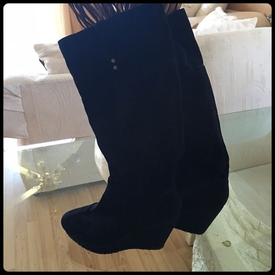 ✨BLACK SUEDE WEDGE BOOTS✨ Great condition. Worn only a few times. BAMBOO Shoes Wedges