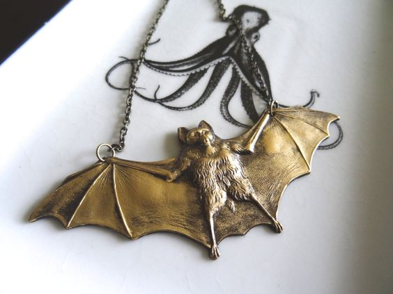 Bat Wing Necklace Outstretched Flying Mammal Animal Pendant Bronze Metal Pendant Finished Necklace by PeculiarCollective on Etsy