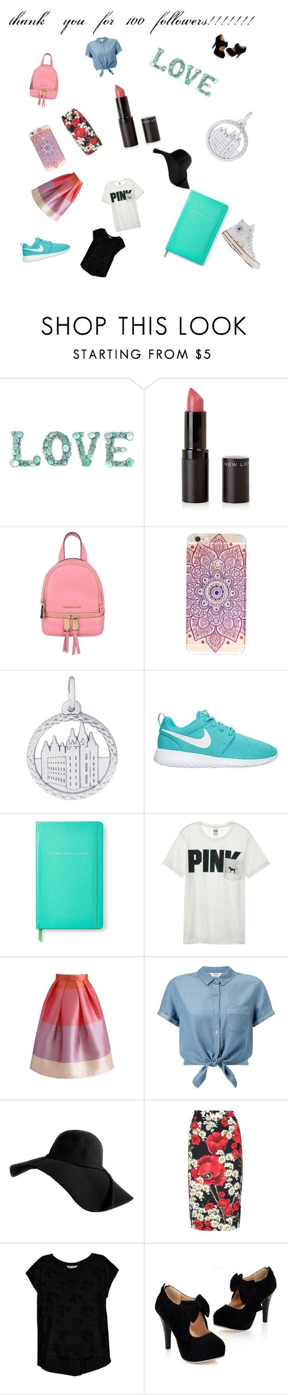 """thank you so much"" by l0l023 ❤ liked on Polyvore featuring New Look, MICHAEL Michael Kors, Rembrandt Charms, Kate Spade, Victoria's Secret, Chicwish, Miss Selfridge, Dolce&Gabbana, Bobeau and Converse"