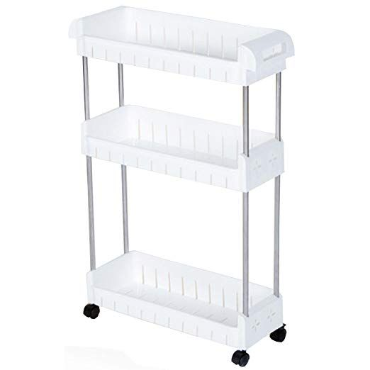 NEW White Wire Household Cart Laundry 3 Tier Shelf Rolling Supplies Narrow Steel