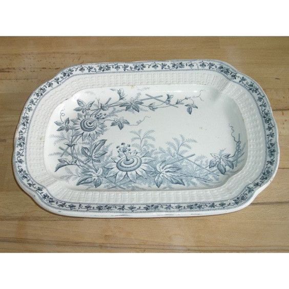 Victorian Staffordshire Meat Plate - Lara Pattern - Grey / White Colourway…