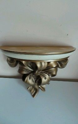 Wall Mount Art Nouveau Style Cast Resin Half Moon Table Bow Design Shelf  Furnitu