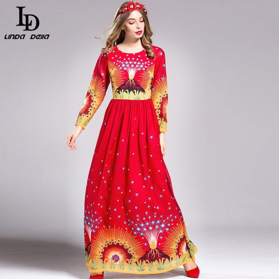 Fashion Women Long Sleeve Party Wear Red Printing Long Dress Plus size XXL $83.77   => Save up to 60% and Free Shipping => Order Now! #fashion #woman #shop #diy  http://www.clothesdeals.net/product/ld-linda-della-fashion-designer-women-maxi-dress-long-sleeve-party-wear-red-printing-long-dress-plus-size-xxl