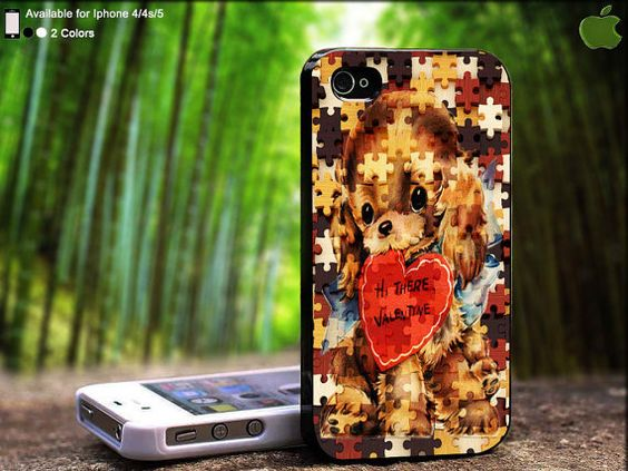 Cute Puppy Puzzle Valentine Design For iPhone 5 / 4 by SidePucket, $14.89