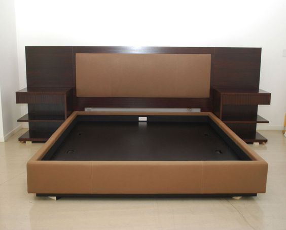 Modern King Platform Bed Frame Built In Side Table And Height Headboard With King Size Bed - Modern King Platform Bed Frame Built In Side Table And Height